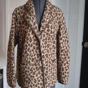 EUC Talbots Woman Leopard Merino Wool Blazer Sz X